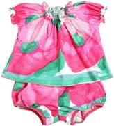 Print Cotton Poplin Dress & Diaper Cover