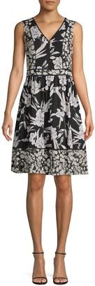 Karl Lagerfeld Paris Floral-Print A-Line Dress