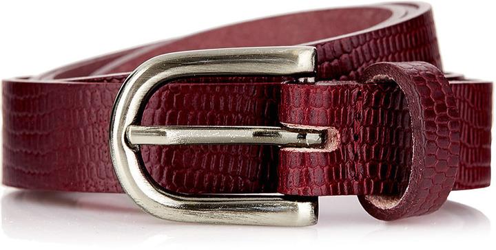 Topman Burgundy Moc Croc Skinny Belt