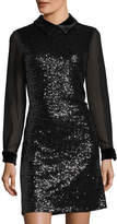Julia Jordan Velvet-Collar Sequined Dress