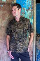 Hand Dyed Batik Short Sleeve Shirt for Men from Bali, 'Night Starfield'