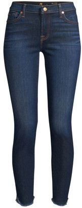 7 For All Mankind Mid-Rise Raw Hem Ankle Skinny Jeans