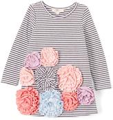 Baby Sara Black & White Stripe Flower Power Shift Dress
