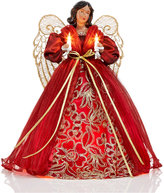 Holiday Lane African American Angel Tree Topper in Burgundy Dress