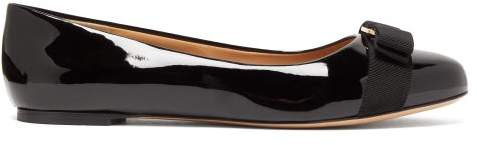 Salvatore Ferragamo Varina Patent Leather Ballet Flats - Womens - Black