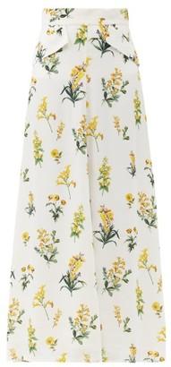 Goat Lake Meadow-print Crepe Maxi Skirt - White Multi