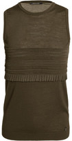 Roberto Cavalli Ruffle-Trimmed Silk-Paneled Stretch Wool-Blend Tank