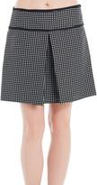 Max Studio Houndstooth Kick-Pleated Skirt