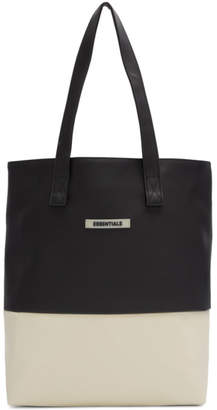 Essentials Black and Off-White Coated Canvas Tote