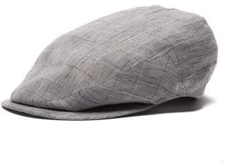 Lock & Co Hatters Drifter Graph Checked Slubbed Linen Flat Cap - Mens - Grey