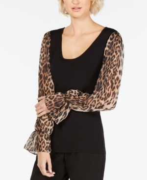 INC International Concepts Inc Petite Leopard-Print-Sleeve Sweater, Created for Macy's