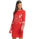 Brave Soul Womens Xmas Jumper Dress Red/Ecru