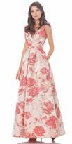 Carmen Marc Valvo Floral Print A Line Prom Dress
