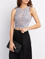Charlotte Russe Lace Open Back Crop Top