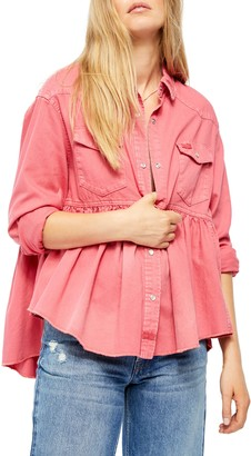 Free People Dylan Button-Up Babydoll Shirt