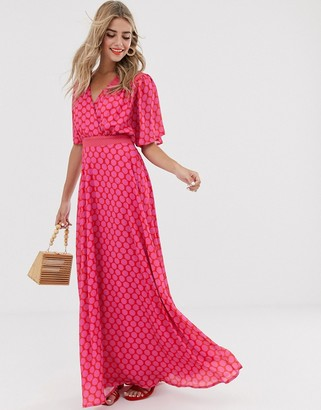 Twisted Wunder ruched waist detail maxi dress in pink and red polka dot