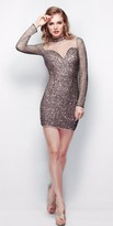 Primavera Couture - 1306 Sequined Long Sleeves Cocktail Dress