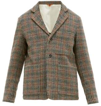 Barena Venezia - Cimento Single Breasted Wool Houndstooth Blazer - Mens - Brown Multi