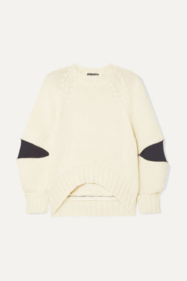 Alexander McQueen Zip-embellished Two-tone Wool Sweater - Ivory