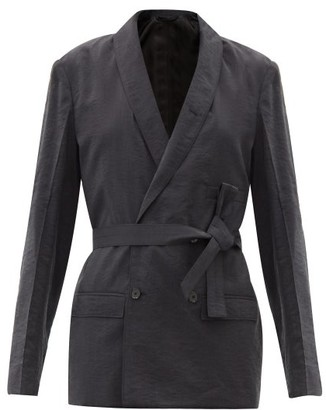 Lemaire Double-breasted Silk-blend Jacket - Dark Grey