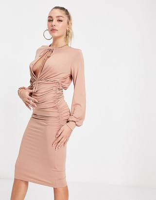 ASOS DESIGN blouson tie long sleeve midi dress with side ruching in mink