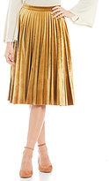 Gianni Bini Jaclyn Pleated Velvet Midi Skirt