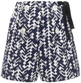 Prada Geometric Print Cotton Poplin Shorts