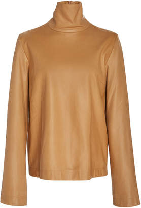 Bouguessa Leather Turtleneck Top
