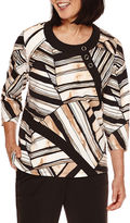 Alfred Dunner Madison Park 3/4-Sleeve Patch-Print Top