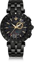 Versace V-Race GMT Alarm Black Plated Men's Watch