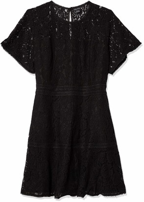 City Chic Women's Apparel Women's Plus Size Dress with Waist Embroidery and lace Overlay