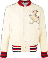 Gucci Donald Duck appliqué bomber jacket - men - Leather/Wool/Polyamide/Silk - 50