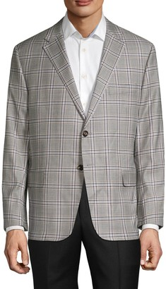 Hickey Freeman Check Wool Suit Jacket