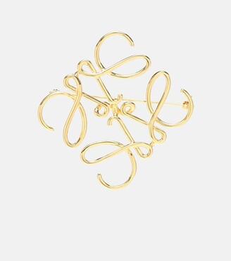 Loewe Gold-plated logo brooch