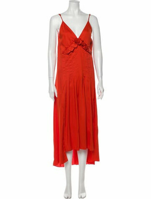 Mother of Pearl V-Neck Long Dress Red