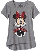 Disney Disney's Minnie Mouse Girls 7-16 Short Sleeve Glitter Graphic High-Low Hem Tee