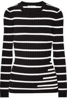 Alexander Wang Striped Ribbed Stretch-knit Sweater
