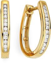 JCPenney FINE JEWELRY 1/4 CT. T.W. 14K Yellow Gold Over Silver Diamond Hoop Earrings