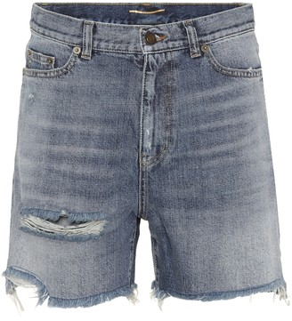 Saint Laurent High-waisted denim shorts