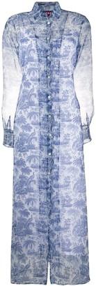 STAUD Embroidered Sheer Shirt Dress