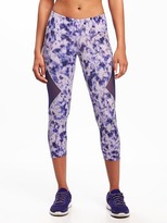 Old Navy Go-Dry Mid-Rise Mesh-Panel Compression Crops for Women