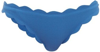 Marysia Swim Antibes Scallop-edged Bikini Briefs - Womens - Blue