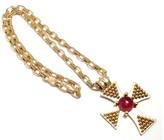 Chanel 18K Yellow Gold Pink Tourmaline Cross Pendant Necklace