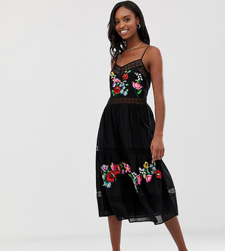 Asos Tall ASOS DESIGN Tall cami trapeze embroidered midi dress