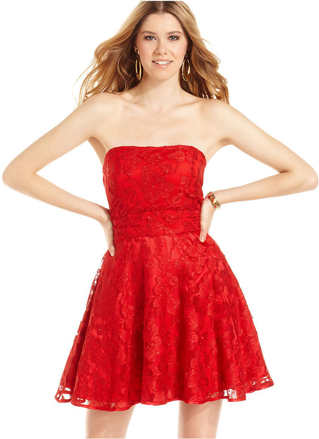 Ruby Rox Juniors Dress, Strapless Lace Full-Skirt