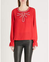 The Kooples Lace and eyelet-detail crepe blouse
