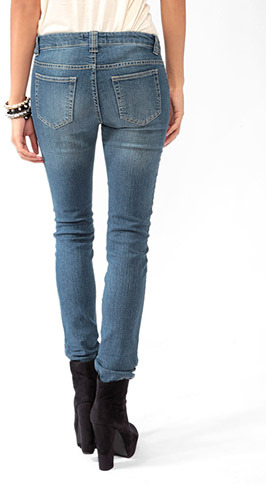 Forever 21 Sandblasted Denim Skinnies