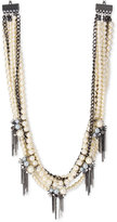 INC International Concepts Hematite-Tone Imitation Pearl and Chain Spike Statement Necklace, Only at Macy's
