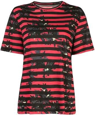 Proenza Schouler Striped Splatter Floral Short Sleeve T-Shirt