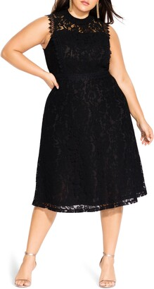City Chic Lace Fit & Flare Dress
